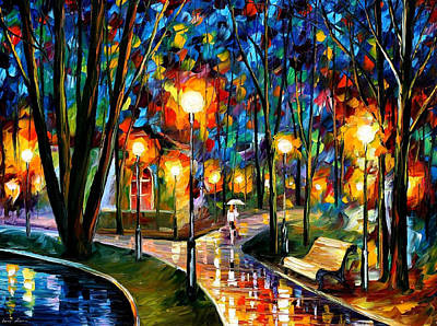 Park By The Lake - Palette Knife Oil Painting On Canvas By Leonid Afremov Original by Leonid Afremov