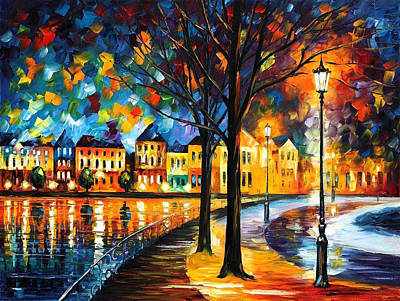 Park By The River - Palette Knife Oil Painting On Canvas By Leonid Afremov Original