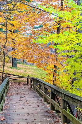 Photograph - Park Footbridge In Autumn by Gary Slawsky