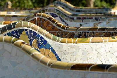Photograph - Park Guell Bench by Brandon Bourdages