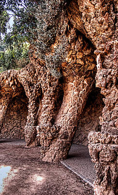 Photograph - Park Guell Colonnade No1 Unframed by Weston Westmoreland