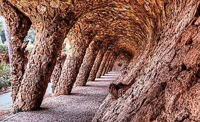 Photograph - Park Guell Colonnade No2 Unframed by Weston Westmoreland