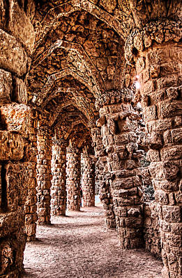 Photograph - Park Guell Colonnade No3 Unframed by Weston Westmoreland
