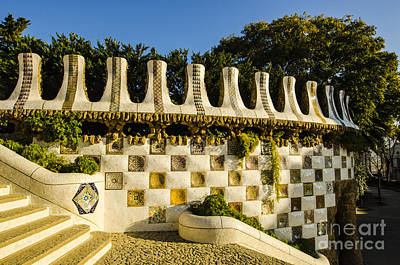 Photograph - Park Guell Curved Wall by Deborah Smolinske