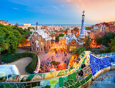 Park Guell In Barcelona - Spain Art Print by Luciano Mortula