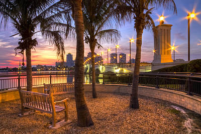 Florida Bridge Photograph - Park On The West Palm Beach Wateway by Debra and Dave Vanderlaan