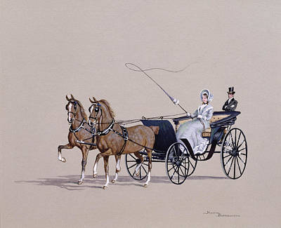 Horse And Carriage Wall Art - Painting - Park Phaeton by Ninetta Butterworth