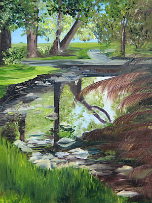 Painting - Park Pond Reflections by Jane Autry