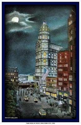 Painting - Park Row At Night- New York City- 1905 by Dwight Goss