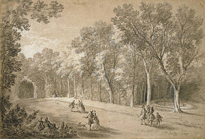 Park Scene Drawing - Park Scene Jean-baptiste Oudry, French by Litz Collection