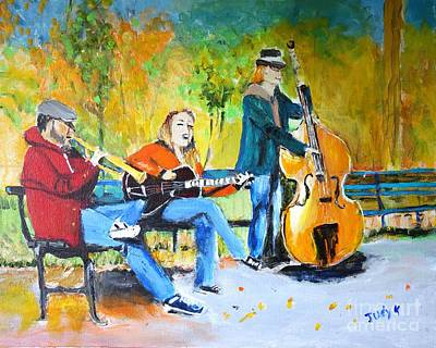 Art Print featuring the painting Park Serenade by Judy Kay