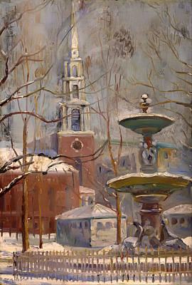 Boston Painting - Park Street At Boston Commons by Mountain Dreams