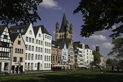 Park View Of Brewpubs And Great St Martins Church In Cologne Art Print