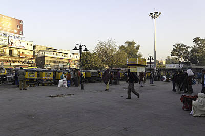 Tree Photograph - Parked Auto Rickshaws And People And Shops Outside The Jodhpur Train Station by Ashish Agarwal