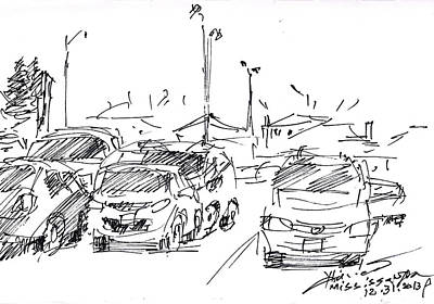 Transportation Drawing - Parking Lot  by Ylli Haruni