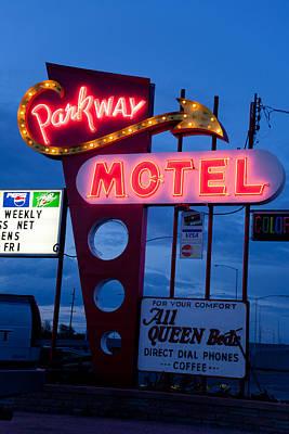 Neon Photograph - Parkway Motel by Matthew Bamberg
