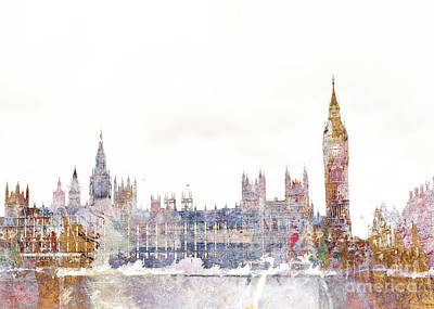 Abstract Skyline Digital Art - Parliament Color Splash by Aimee Stewart