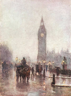 Big Ben Drawing - Parliament Square And Big Ben by Mary Evans Picture Library
