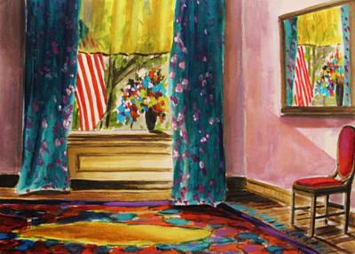 Interior Still Life Drawing - Parlor And Mirror Image by John Williams
