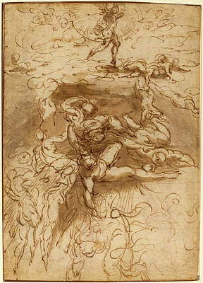 Wash Drawing - Parmigianino, Italian 1503-1540, The Fall Of The Rebel by Litz Collection