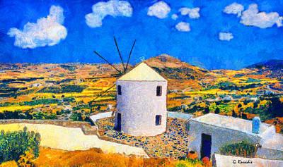 Kyklades Painting - Paros Windmill by George Rossidis