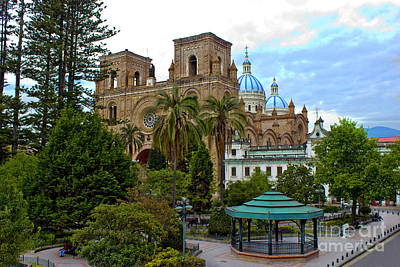 Immaculate Photograph - Parque Calderon And Immaculate Conception Cathedral In Cuenca by Al Bourassa