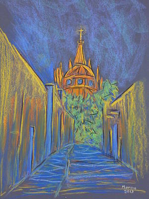Pastel - Parroquia From The Back by Marcia Meade