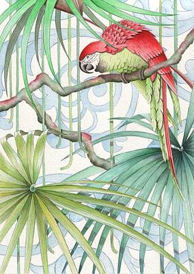 Palm Drawing - Parrot, 2008 by Jenny Barnard