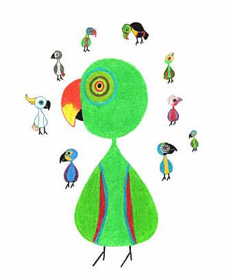 Parrot Babies Art Print