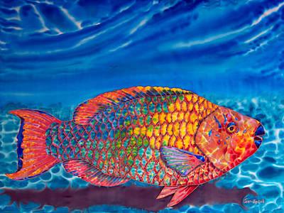 Caribbean Sea Painting - Parrot Fish by Daniel Jean-Baptiste