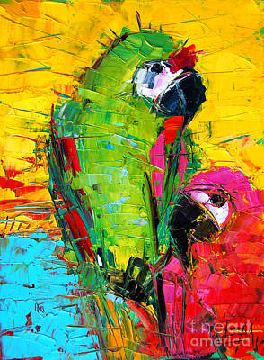 Yellow Beak Painting - Parrot Lovers by Mona Edulesco