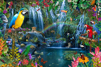 Waterfall Photograph - Parrot Tropics by Alixandra Mullins