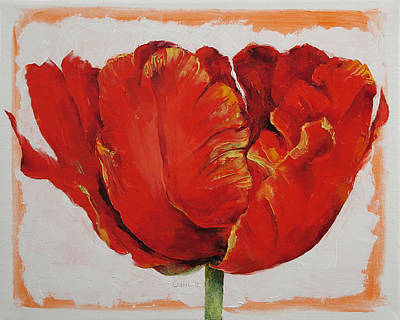 Red Tulip Painting - Parrot Tulip by Michael Creese