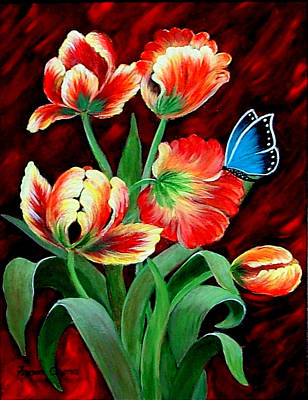 Painting - Parrot Tulips by Fram Cama