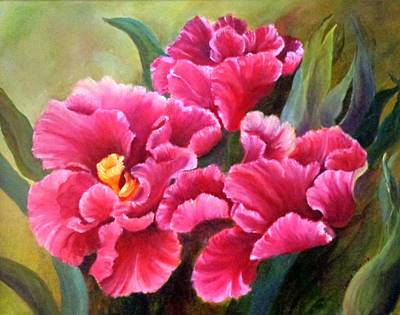 Spring Bulbs Painting - Parrot Tulips  by Janis  Tafoya
