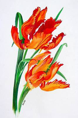 Painting - Parrot Tulips by Tracey Harrington-Simpson