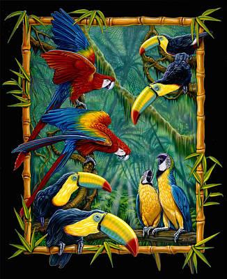 parrots Black Art Print by Larry Taugher