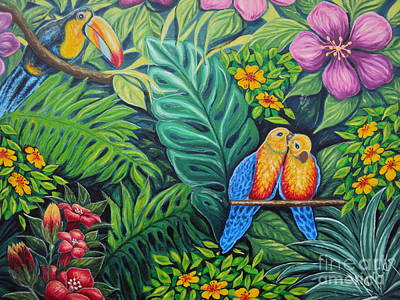 Parrots Jungle Love Scene Print by Drinka Mercep