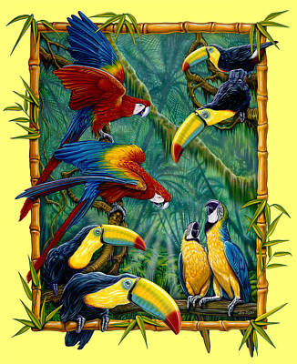 Parrots Yellow Art Print by Larry Taugher