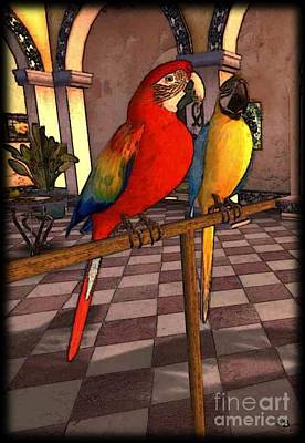 Digital Art - Parrots1 by Susanne Baumann