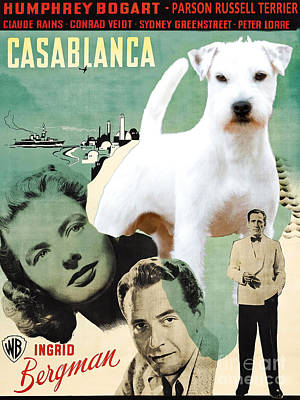 Painting - Parson Russell Terrier Art Canvas Print - Casablanca Movie Poster by Sandra Sij