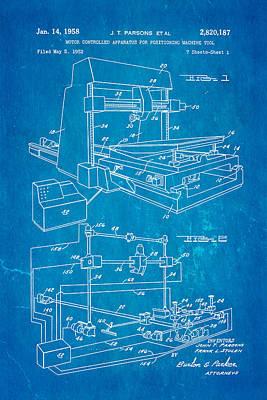 Parsons Numeric Machine Control Patent Art 1958 Blueprint Art Print by Ian Monk