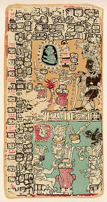 Maya Drawing - Part Of A Calendar Used By  Maya by Mary Evans Picture Library