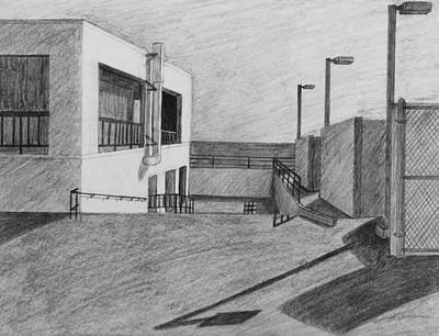 Fence Drawing - Part Of School Building by Kume Bryant