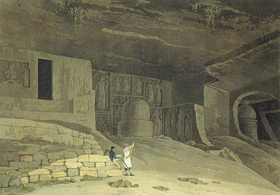 Reliefs Drawing - Part Of The Kanaree Caves, Salsette by Thomas & William Daniell