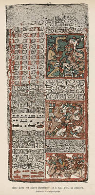 Dresden Codex Drawing - Part Of The Mayan Manuscript  Known by Mary Evans Picture Library