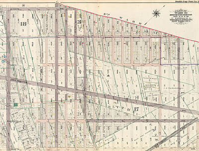 No 3 Drawing - Part Of Ward 30, Land Map Sections, Nos. 3 by Litz Collection