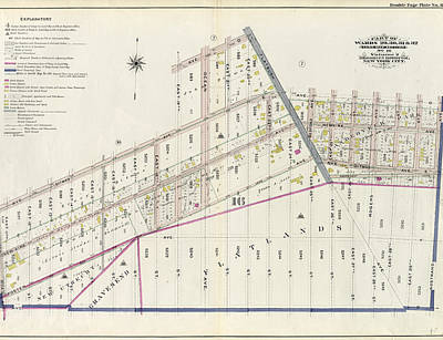 Volumes Drawing - Part Of Wards 29, 30, 31 & 32, Land Map Section by Litz Collection
