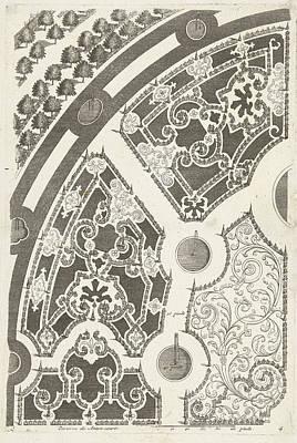 Hamptons Drawing - Parterre Hampton Court, Danil Marot by Dani?l Marot (i)