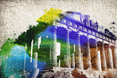 Temple Mixed Media - Parthenon by Aged Pixel